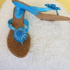 NWOT! Fioni Bubblegum Blue Sunflower Sandals